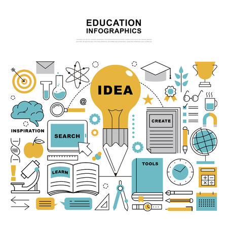 lighting bulb: Education infographic design, stationeries and lighting bulb in flat thin line style Illustration