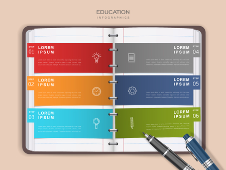 Education infographic design, options on open binder paper, realistic style