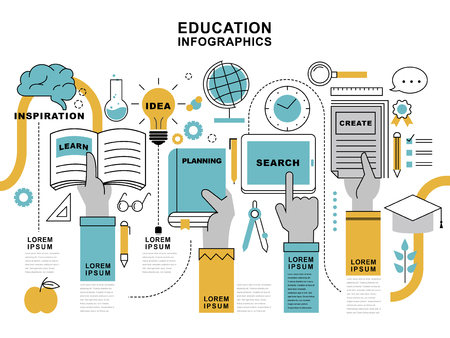 Education infographic design, hands holding different stuffs in flat thin line style
