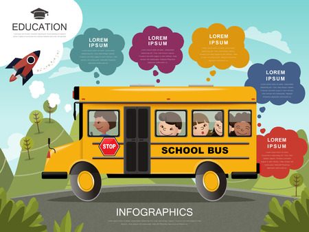classmate: Education infographic design, lovely students on their way to school, yellow school bus
