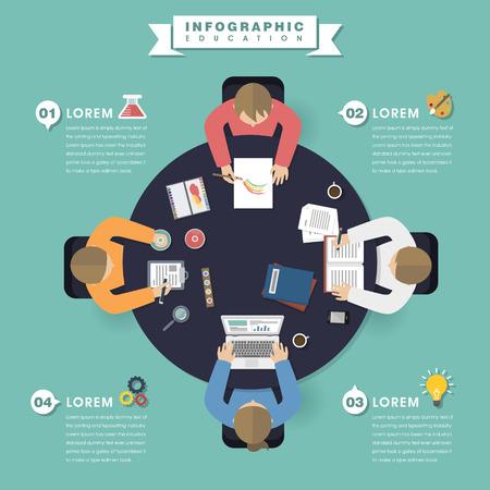 Bildung Infografik flaches Design, Draufsicht auf die Menschen um runden Tisch und ihre eigenen Dinge zu tun,