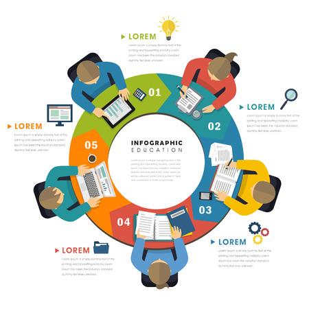 Onderwijs infografisch vlak ontwerp, bovenaanzicht van mensen rond proceskaart en doen hun eigen dingen Stock Illustratie