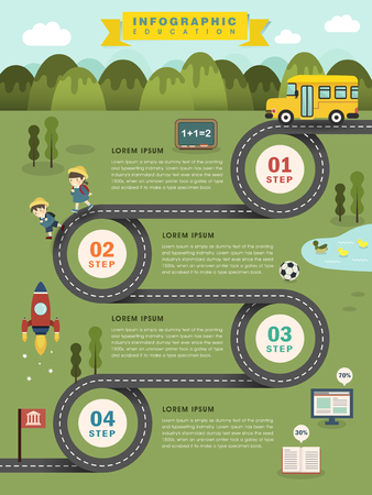 fresh graduate: Education infographic flat design, lovely students on their way to school, fresh green field with road Illustration