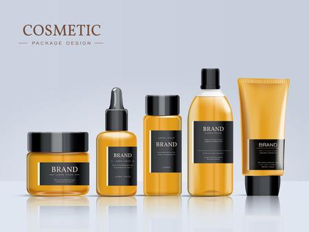 Cosmetic conception de modèle de package, élégant ensemble d'emballage avec des étiquettes. illustration 3D.