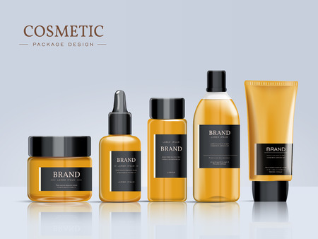 Cosmetic package template design, elegant packaging set with labels. 3D illustration.