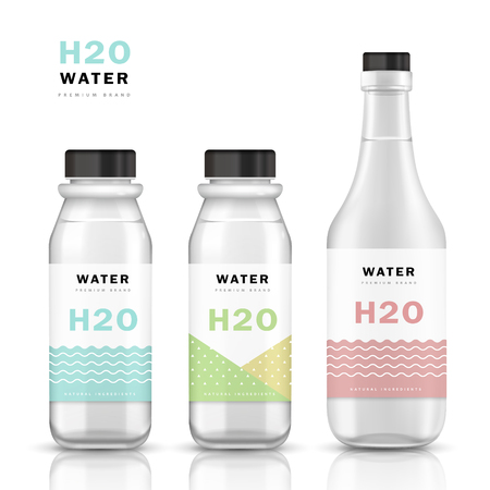 Trendy water bottle template, mockup template design with labels. 3D illustration