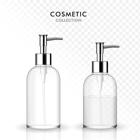 Cosmetische vloeibare zeep fles, 3D illustratie realistisch doorzichtige plastic fles sjabloon, shampoo, gel container, leeg en gevuld.