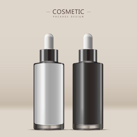 Essential oil glass bottle, 3D illustration realistic dropper bottle set isolated on beige background