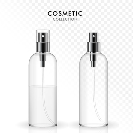 Kosmetische Sprühflasche Template-Set, 3D-Darstellung realistisch transparente Glasflasche, leere und gefüllte Flaschen