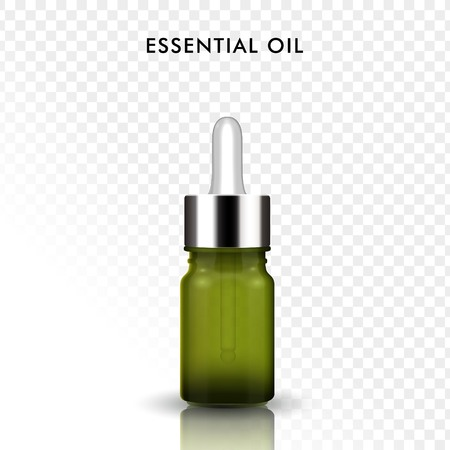 Essential oil glass bottle, 3D illustration realistic dropper bottle in green isolated on transparent background