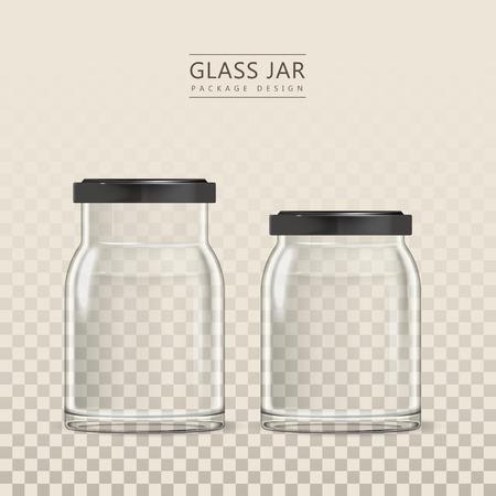 Lege glazen pot template, 3D illustratie container collectie geïsoleerd op transparante achtergrond