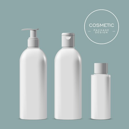 plastic bottle: Cosmetic liquid soap bottle set, 3D illustration realistic plastic bottle template in white, shampoo, gel container