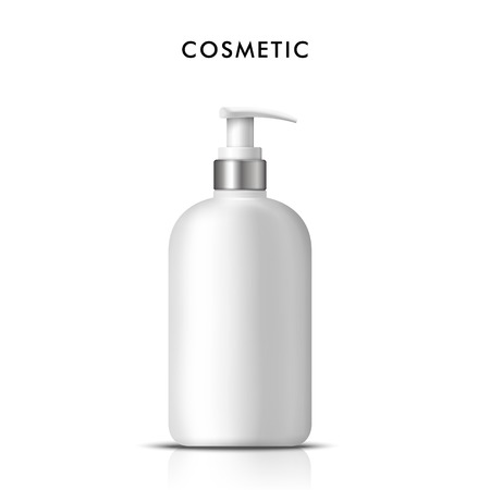 plastic bottle: Cosmetic liquid soap bottle,3D illustration realistic plastic bottle template in white, shampoo, gel container