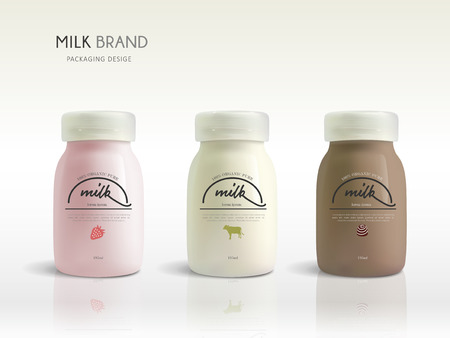 milkman: Milk bottle template design, dairy package design isolated on white background, three flavors for sale Illustration