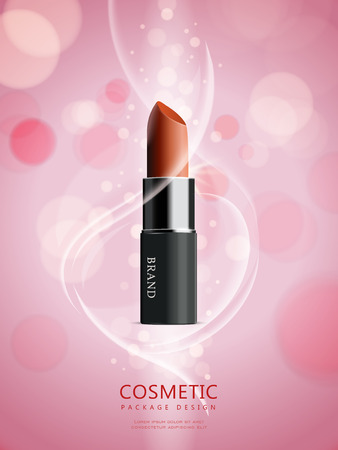 魅力的な口紅パッケージ デザイン、ピンクの背景と 3 D イラストレーションの口紅広告ポスター