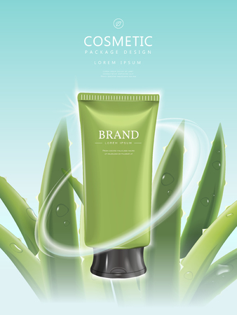 cosmetic product: Refreshing cosmetic product poster, green tube package template with aloe elements isolated on blue background, 3D illustration