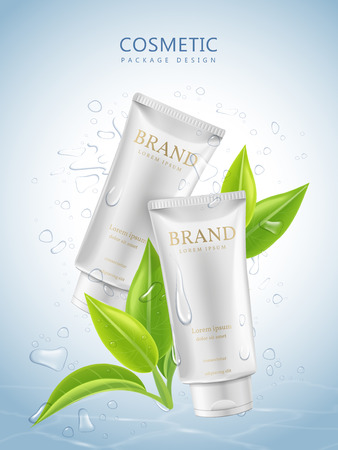 Refreshing cosmetic package design, white tube package template with green leaves and water drops over blue background, 3D illustration Illustration