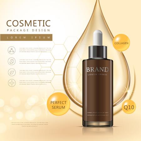 Essential oil poster design, 3D illustration realistic dropper bottle with oil drop over background