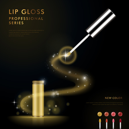 Splendid lip gloss ad template, 3D illustration cosmetic package design isolated on black background, colorful lip gloss collection on lower right Ilustração