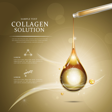 Collagen Öltropfen Anzeigenvorlage, ätherisches Öl in der goldenen Farbe tropfte von Tropfer Vektorgrafik