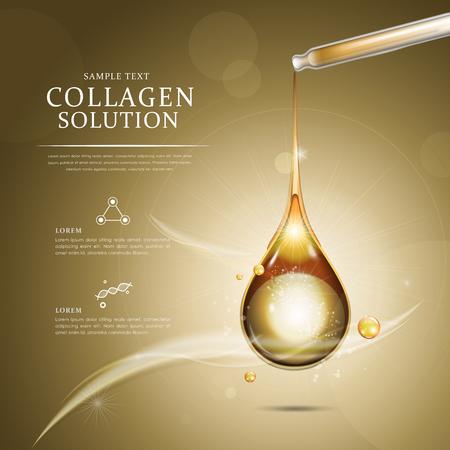Plantilla de anuncio de la gota de aceite de colágeno, aceite esencial en color dorado goteaba de gotero Ilustración de vector