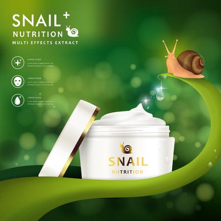 Crema modello di maschera annuncio, il disegno in bianco contenitore crema con coperchio aperto, illustrazione 3D isolato su sfondo bokeh verde