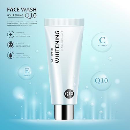lavage ad modèle de visage, vierge conception de l'emballage de tube cosmétique isolé sur fond bleu clair, des éléments de goutte d'eau transparents, illustration 3D