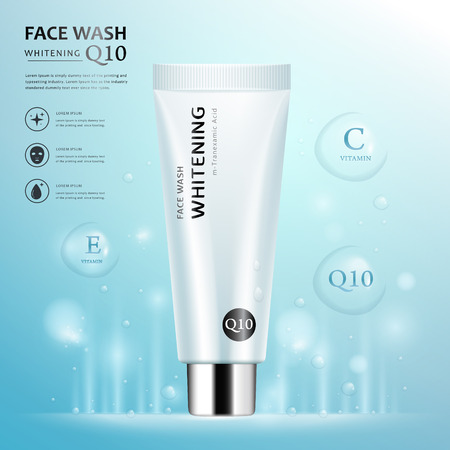 Face wash ad template, blank cosmetic tube package design isolated on light blue background, transparent water drop elements, 3D illustration