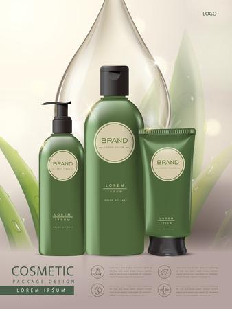 affiche du paquet cosmétique, un ensemble de soins du corps paquet vert conception, l'aloès et la goutte d'eau fond, illustration 3D