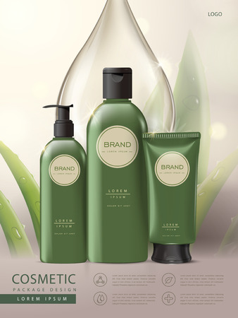 Cosmetic package poster, set of body care green package design, aloe and water drop background, 3D illustration