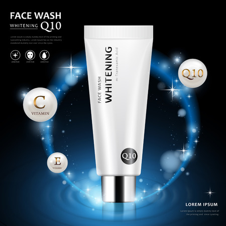 Face wash ad template, blank cosmetic tube package design isolated on dark blue background, 3D illustration with sparkling elements Çizim