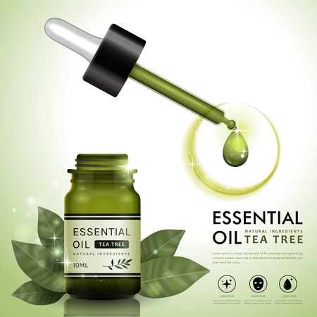 Essentiële olie ad sjabloon, tea tree olie dropper fles ontwerp met bladeren elementen, 3D illustratie