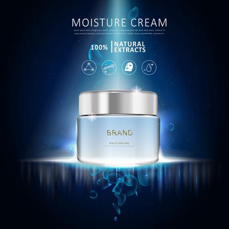 plantilla de la crema anuncio de humedad, el diseño azul de la botella de crema en blanco sobre fondo azul oscuro