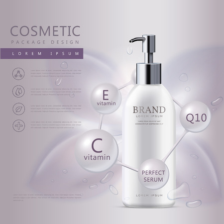 Cosmetic product poster, white liquid soap bottle with water drops isolated on purple background, 3D illustration Vectores
