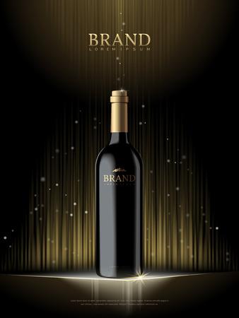 Luxe champagne poster, 3D illustratie champagnefles sjabloon in zwart, geïsoleerd op fonkelende zwarte achtergrond