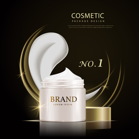 glowing skin: Cream canister poster design, 3D illustration realistic cosmetic canister package design isolated on black background