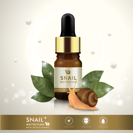 moisturizers: Essential oil ad template, snail nutrition dropper bottle design with leaves and pearls elements, 3D illustration