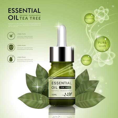 Plantilla de anuncio de aceite esencial, aceite de árbol de té gotero botella de diseño con elementos de hojas, ilustración 3D