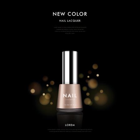 Elegancki paznokci szablon polskiej reklamy, 3D ilustracji kosmetyczne wzór pakiet samodzielnie na czarnym tle z polka musującego