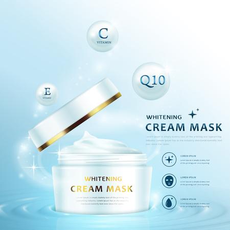 plantilla de máscara de anuncios crema, crema diseño envase blanco con la tapa abierta, ilustración 3D aislada en el fondo azul claro Ilustración de vector