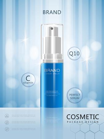 スプレー ボトル ポスター デザイン、青の背景に分離した 3 D イラスト現実的な化粧品パッケージ デザインします。