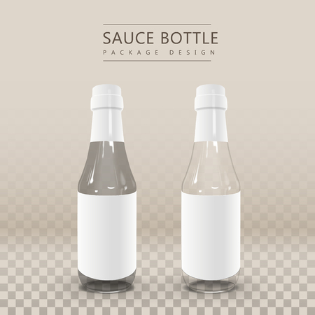 cleansing: two blank sauce bottles with blank label  isolated on black background. 3D illustration Illustration