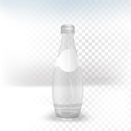 purify: glass beverage bottle with blank label isolated on transparent background Illustration