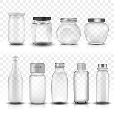 Negen glazen potten collectie set, transparante achtergrond 3D illustratie