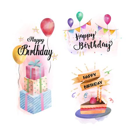 Feliz cumpleaños acuarela elementos, regalos, pastel y elementos de fiesta en acuarela dibujado a mano estilo, las colecciones de tarjeta de cumpleaños Foto de archivo - 63775843