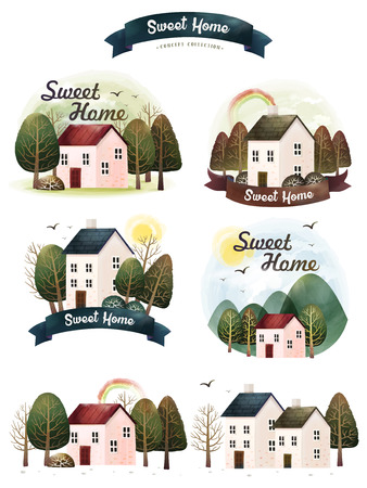 Watercolor sweet home collection, lovely rustic house with trees in hand drawn style, watercolor elements for cards, poster or story book