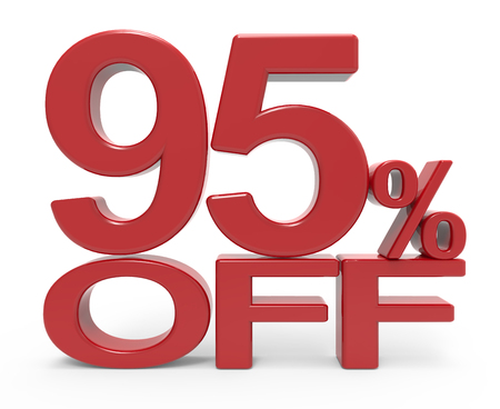 3d rendering of a 95% off symbol, isolated on white background, Stock Photo