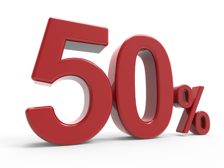 3d rendering of a 50% symbol, isolated on white background, left leaning Stock Photo