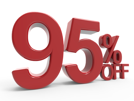 3d rendering of a 95% off symbol, isolated on white background, left leaning Stock Photo