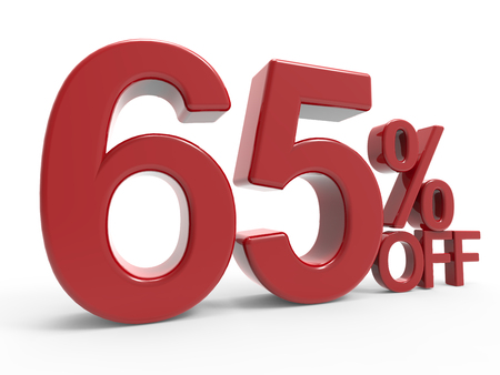 majority: 3d rendering of a 65% off symbol, isolated on white background, left leaning
